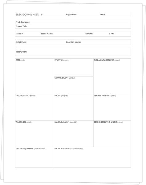 breakdown template free script breakdown sheet template