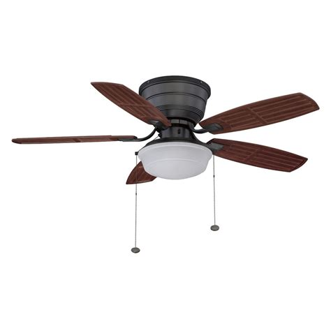 shop litex 44 in natural iron flush mount ceiling fan with