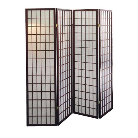 room divider home decorators collection 5 83 ft cherry 4 panel room divider r566 4 the home depot