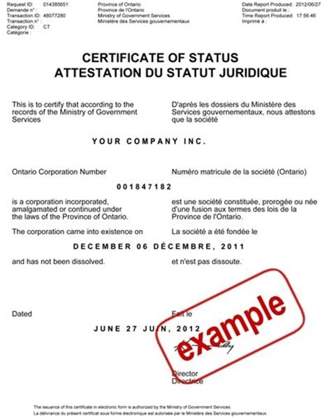 Post Mba Certificate Canada by Obtaining A Certificate Of Status Standing Compliance