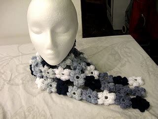 Blue Flower Puff Scarf ravelry puff flower scarf for beginners pattern by