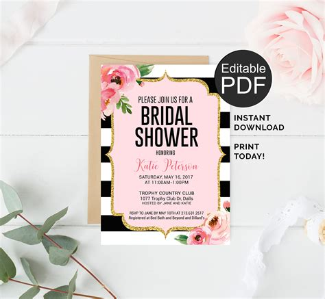 kate spade bridal shower invitation editable pdf template