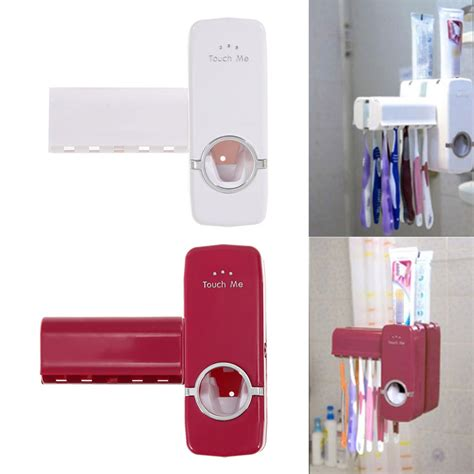 Diskon New Automatic Toothpaste Dispenser And Brush Holder Set aliexpress buy automatic toothpaste dispenser 5 toothbrush holder set wall mount stand