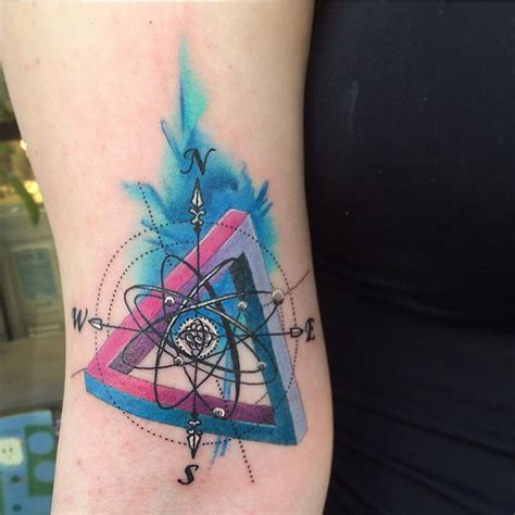 watercolor triangle tattoos atom inside a compass penrose triangle and some
