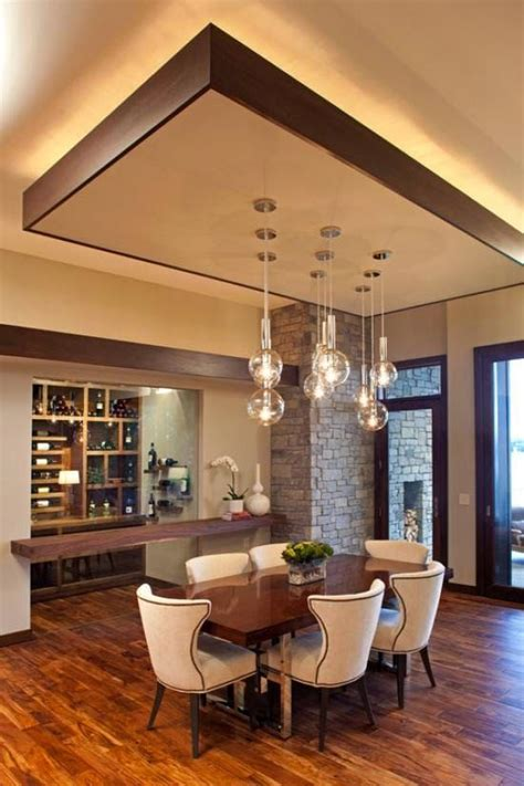 modern dining room with false ceiling designs and suspended lamps http://www.bykoket.com