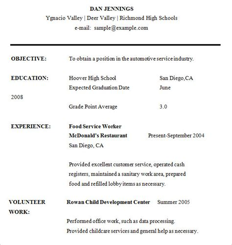 Resume Exles For Highschool Students In Word High School Resume 9 Free Sles Exles Format