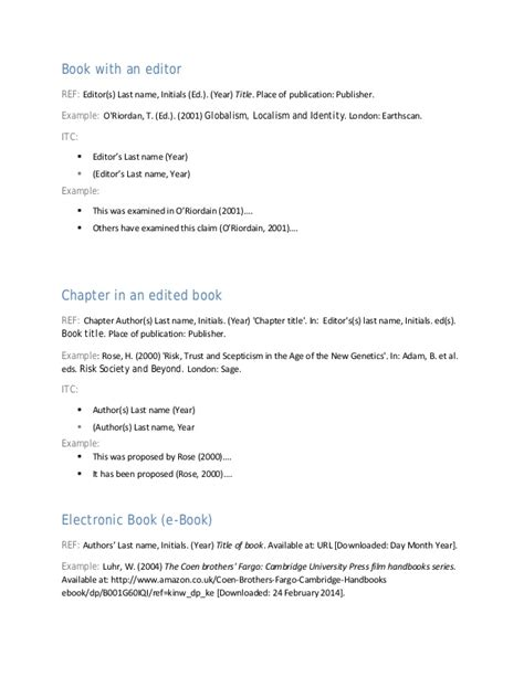 harvard style referencing template harvard referencing format