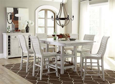 Counter Height Dining Room Set White Willow Distressed White Rectangular Counter Height Dining