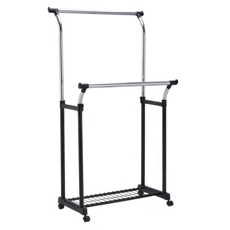 rolling garment rack double rail adjustable garment rack rolling clothes hanger