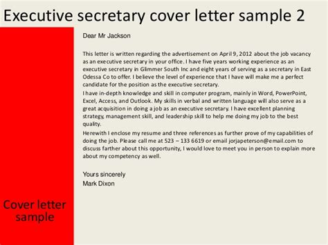 Job Description Of Secretary For Resume by Executive Secretary Cover Letter