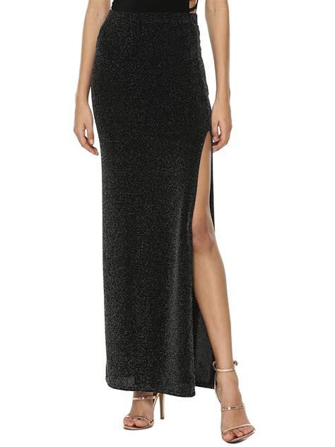 buy boohoo side split lurex maxi skirt for s