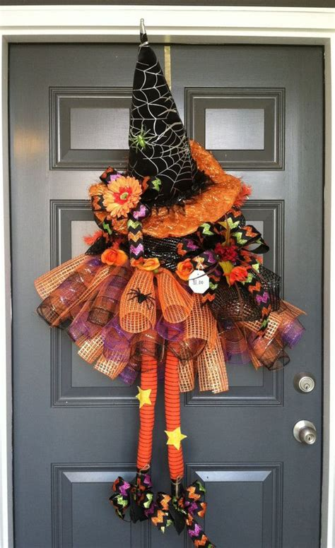 halloween witch deco mesh wreath beautiful colors and