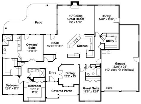ranch style house plan 4 beds 3 baths 3000 sq ft plan