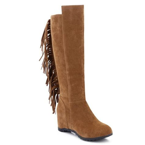 wholesale toe fringe wedge boots 38 brown