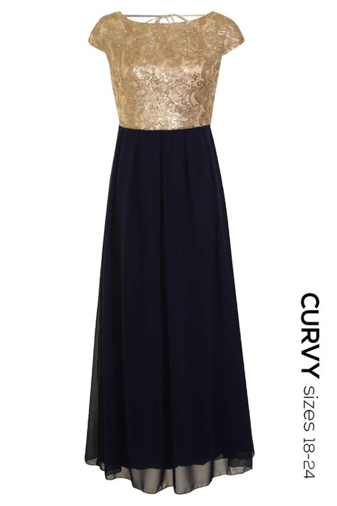 Golden Maxy 4 by Curvy Gold And Black Embellished Maxi Dress