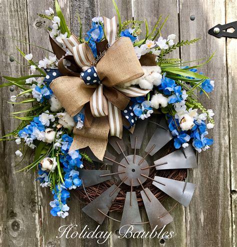 farmhouse windmill  holiday baubles wreaths door