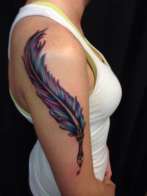 self inflicted tattoo writing pen tattoos feather quill pen done at