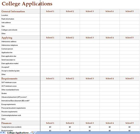 application tracking template college search excel worksheet christian college search