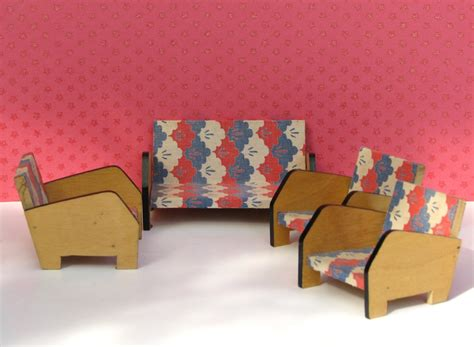 doll house vintage sofa and chair set 1950s furniture