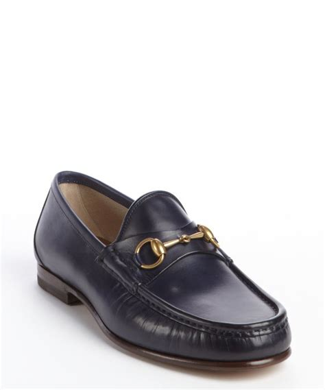 gucci slip on loafers gucci navy leather moc toe horsebit slip on loafers in