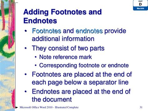 footnote format in powerpoint word 2010 unit d ppt
