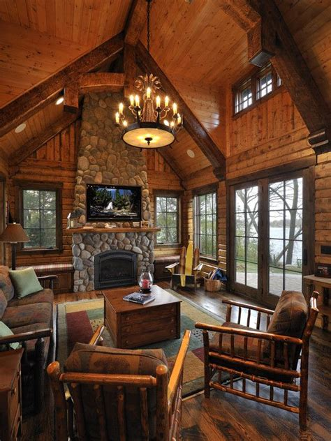 Log Cabin Ceilings by 10 High Ceiling Living Room Design Ideas Cabin Design Logs And Log Cabins