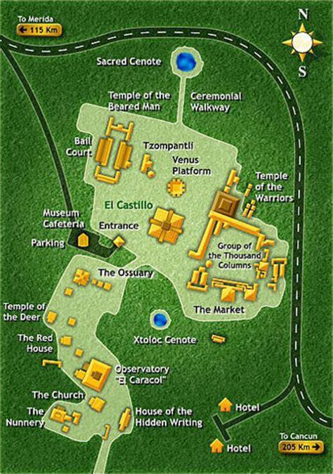 mayan ruins map map of chichen itzas mayan ruins cancun