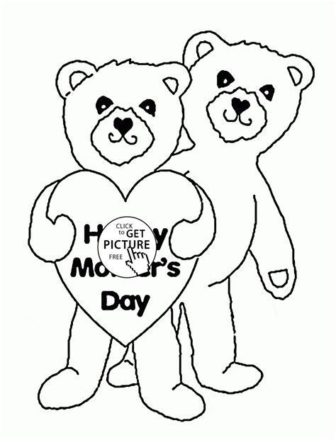 cute coloring pages for mother s day cute bears for mother s day coloring page for kids