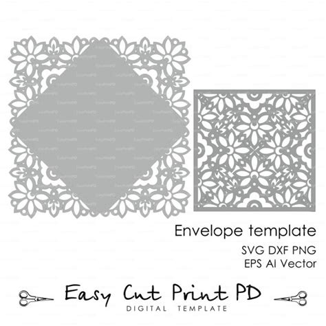 Wedding Invitation Card Envelope Template Lace Folds Cover Invitation Sleeve Template