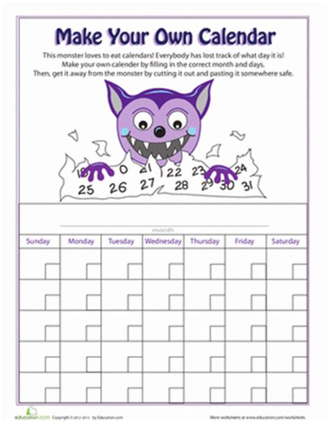 printable kindergarten calendar worksheets make your own calendar worksheet education com