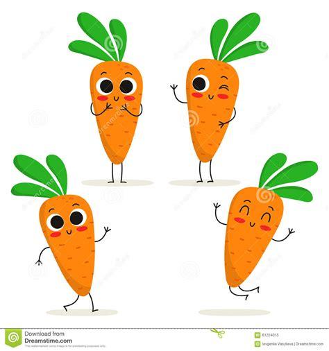 vegetables z wave carrot vegetable character set on white stock vector