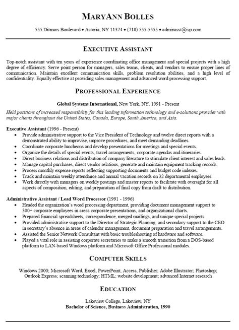 executive assistant templates 10 administrative assistant resume format tips writing