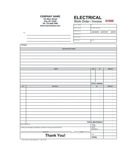 Electrical Contractor Receipt Free Service Invoice Template Format And Writing Tips A Electrical Service Invoice Template