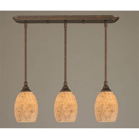 bronze three light mini pendant with seashell glass shade