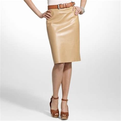 ralph black label leather skirt in beige