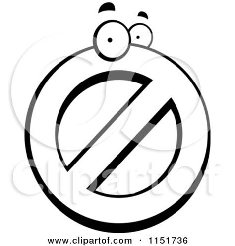 cartoon clipart of a black and white prohibited symbol