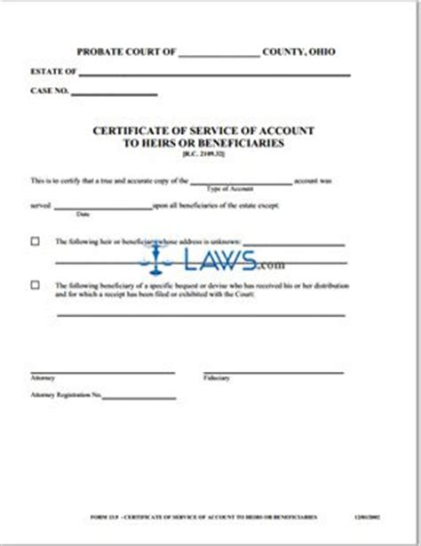 beneficiary certificate template certificate of service of account to heirs or