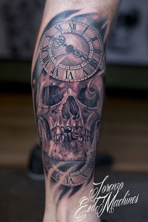 black and grey tattoo machine skull with watches realistic black and gray tattoo by