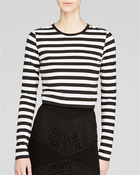Crop Stripes Tees lyst dkny stripe sleeve crop in black