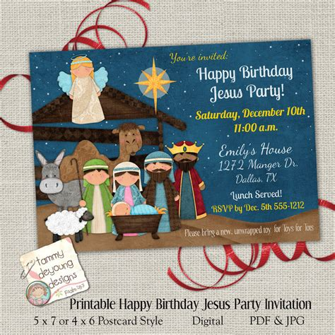 happy birthday jesus card template invitation happy birthday jesus invite
