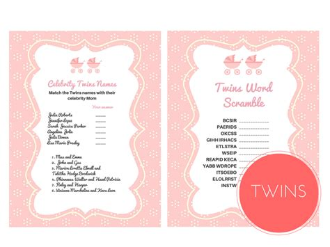 twin themed names twin girls baby shower games magical printable
