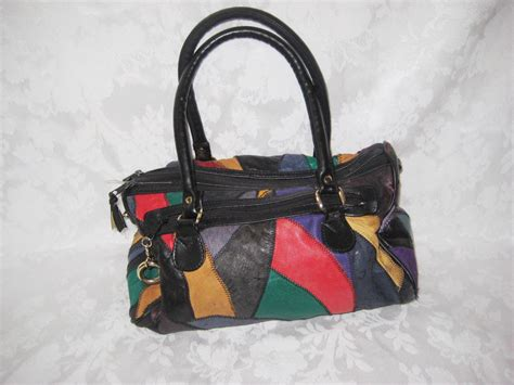 leather patchwork bag purse multi colorful handbag 70s