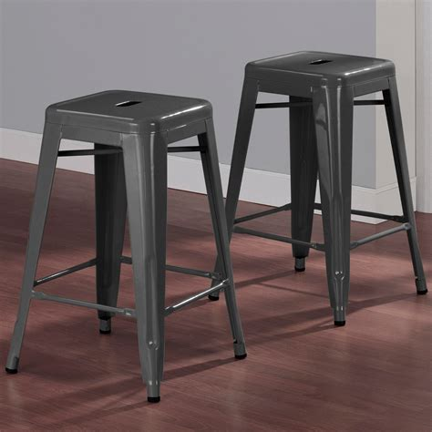 Grey 24 Inch Bar Stools by Tabouret 24 Inch Charcoal Grey Metal Counter Stools Set