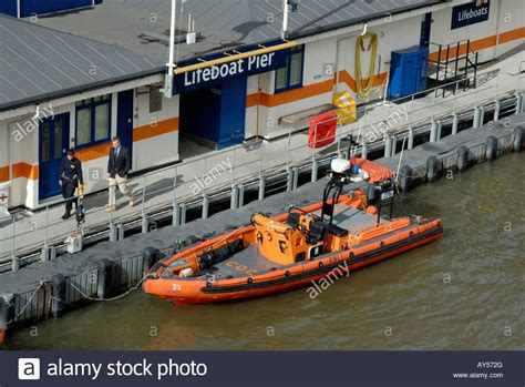 thames river rescue rescue rib moored at the rnli lifeboat pier on the river