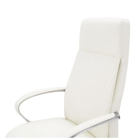 white executive desk chair forbes genuine leather aluminum base high back executive