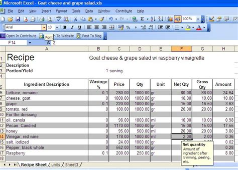 Personal Chef Manila Recipe Cost Excel Sheet Free Recipe Costing Template