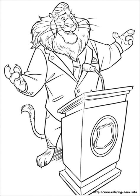 free printable coloring pages zootopia mayor lionheart giving speech in printable disney zootopia