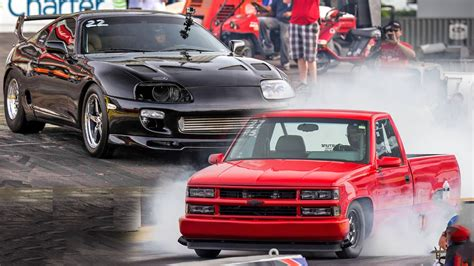 truck car racing drag racing turbo toyota supra vs tt chevy 1500