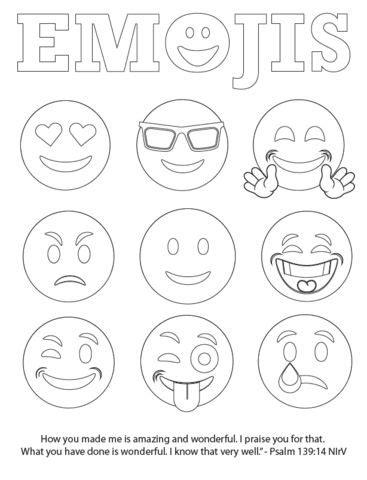 printables of emojis free emojis coloring page children s pastor only