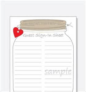 Baby Shower Sign In Sheet Template bridal shower guest sign in sheet printable diy jar